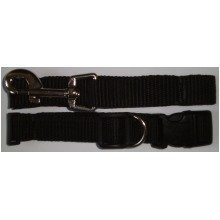 Black Small Dog Puppy Collar and Lead / Leash Set 2cm wide Adjustable
