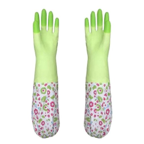 2 Pairs Rubber Cleaning Gloves with Lining Long Dishwashing Gloves, Green-3