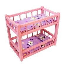 Obique Wooden Toy Pink Bunk Bed for 2 Dolls w/ Mattresses & Pillows
