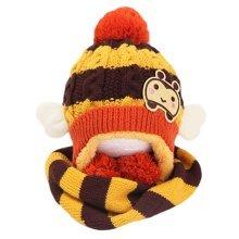 Winter Baby Kids Girls Boys Hats Warm Scarf Caps Plush Ear Protect Gift Set-Coffee