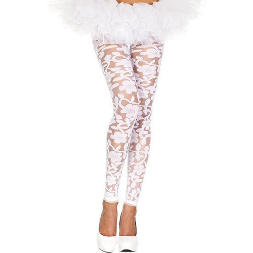 Transparent Leggings With Floral Design - White  Ladies Lingerie Leggings - Music Legs