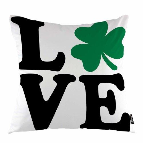 Melyaxu Leaf Throw Pillow Cover Love Logo Lucky Clover Symbol Green Leaf Decorative Pillow Case Home Decor for Sofa Bedroom Car 18x18 Inch Pillowcase