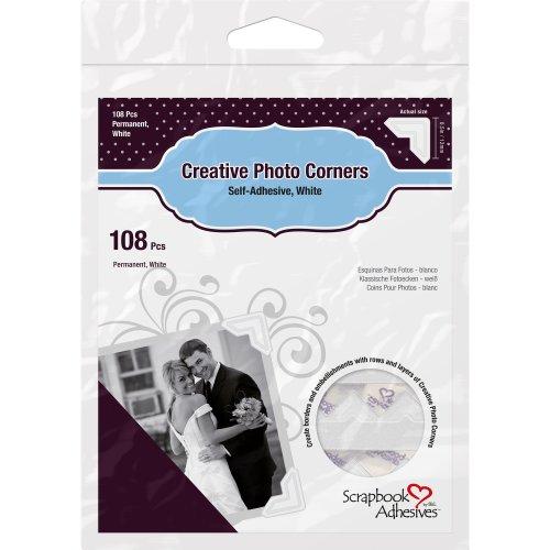 Scrapbook Adhesives Paper Photo Corners Self-Adhesive 108/Pk-White