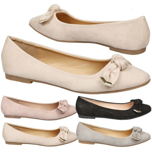 Araminta Womens Flat Slip On Bow Detail Ballet Flats
