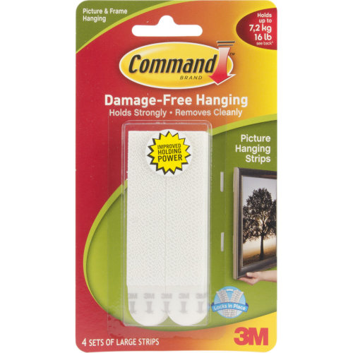 Command Large Picture Hanging Strips-White 4 Sets/Pkg