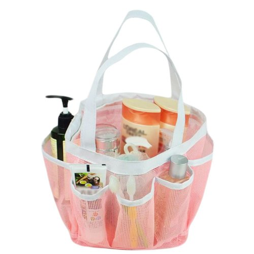 Outdoor Quick Dry Mesh Shower Accessories Tote With Double Handles-Pink