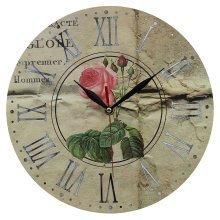 Obique Home Decoration Pink Rose Scene Vintage 28cm MDF Wall Clock