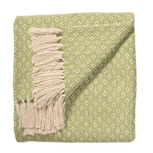 Indian Arts Fair Trade Soft Hand Woven Bedspread Settee Sofa Throw Diamond Weave Pattern 100% Cotton 130 X 180cm (Sage)