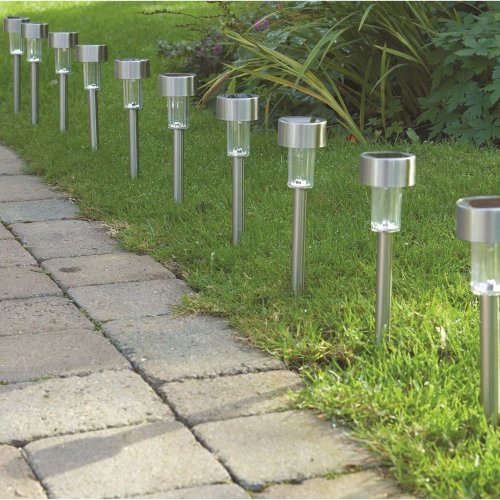 10 X Solar Ed Garden Lights Post Patio Outdoor Led Lighting Stainless Steel