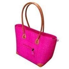 Madagascar Large Vero Raffia Hot Pink Handbag