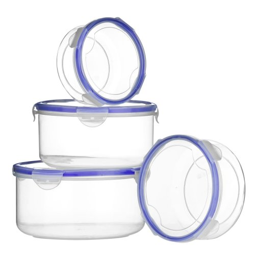 Set of 4 Round Food Containers with Airtight Lids, Transparent