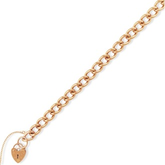 "9ct. Rose Gold Curb Link Charm Bracelet with Padlock 7.5""/19cm"