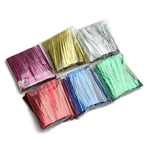 800Pcs Metallic Twist Tie Wire for Pack Candy Lollipop Cake Cello Bag