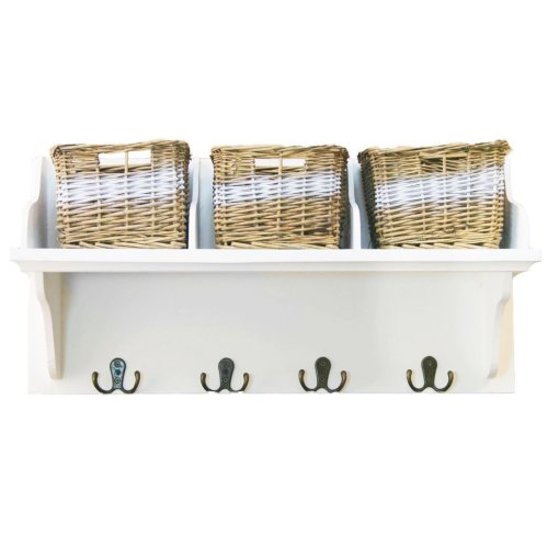 White Wall-Mounted Storage Shelf | Wall Unit With Baskets & Hooks