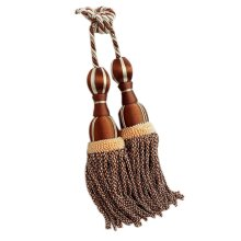 2 Pieces Curtain Tassel Hanging Ball Decorative Buckles/Holders, Coffee(69cm)