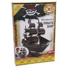 Build Your Own 3d Puzzle Model Kit - Blackbeard's Pirate Ship (155 Pieces)