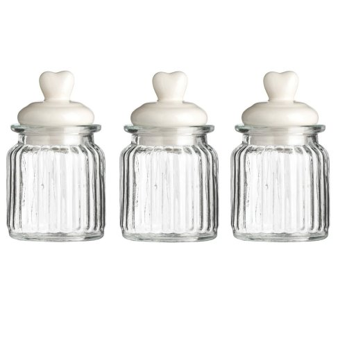 Set Of 3 Ribbed Glass Storage Jars Heart Detail Lids, 300 ml