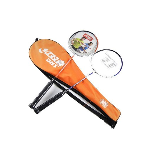 Couple Badminton Racquets Restrung Steel Rackets with Orange Case