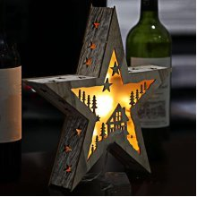 Light Up Wooden Star Christmas Room Decoration