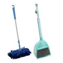 Children Housekeeping TOY Cleaning Play Set-Children Broom Dustpan Mop Suit, Green&Blue