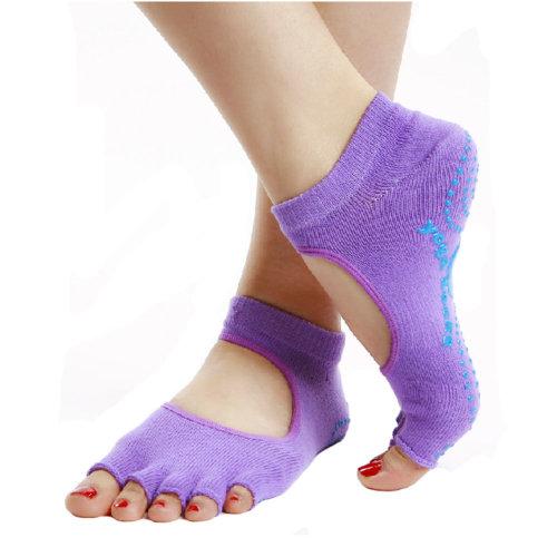 Womens Half Toe Yoga Socks Strong Grip Toeless Socks Non Slip, Purple