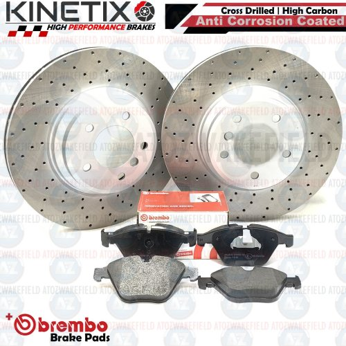 FOR BMW 335i E92 FRONT DRILLED KINETIX PERFORMANCE BRAKE DISCS BREMBO PADS 348mm