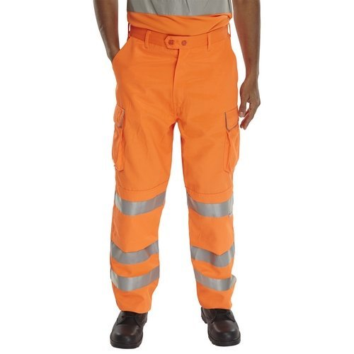 "Click RST30T Rail Spec Hi Vis Orange Trousers Teflon Coated 30"" Long"