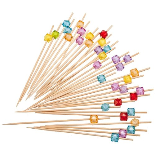 PuTwo Cocktail Sticks 100 Counts Wooden Toothpicks for Nibbles Tapas Sandwich Canopes Appetisers - Multiple Color