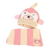 Cute Winter Baby Kids Girls Boys Hats Warm Scarf Caps Plush Ear Protect Gift Set-Pink