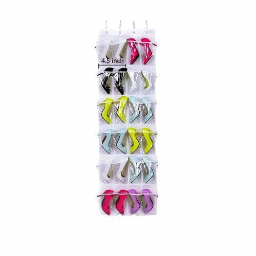 Dailyart 24 Pockets Over The Door Shoe Organizer Hanging Shelf Rack Storage Stand Organiser Holder Hook White On