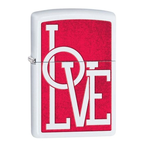 Love White Matte Zippo Lighter
