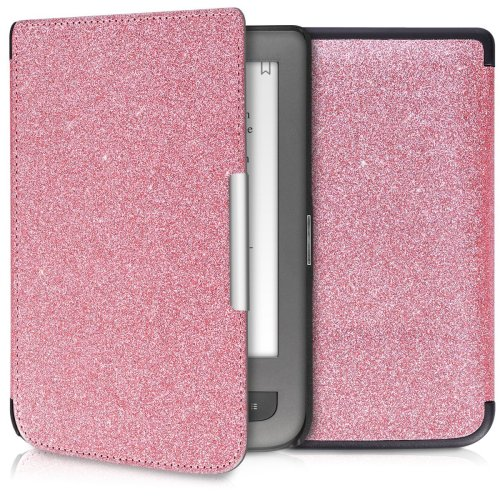 kwmobile Case for Pocketbook Touch Lux 3/Basic Lux/Basic Touch 2 - Book Style Protective e-Reader Flip Cover Folio Case Shell - Light Pink