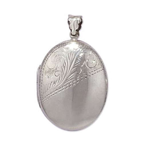 Childrens Sterling Silver Half Engraved Oval Locket On A Curb Necklace