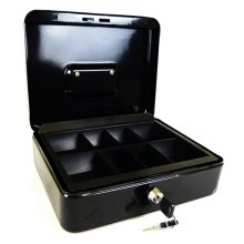 "Hyfive 10"" Black Steel Petty Cash Box Money Holder Security Safe With Keys &Tray"