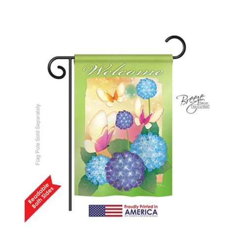 Breeze Decor 54065 Welcome Butterflies 2-Sided Impression Garden Flag - 13 x 18.5 in.