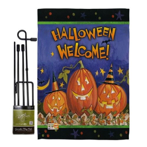 Breeze Decor BD-HO-GS-112079-IP-BO-D-US18-WA 13 x 18.5 in. Halloween Welcome Fall Vertical Double Sided Mini Garden Flag Set with Banner Pole