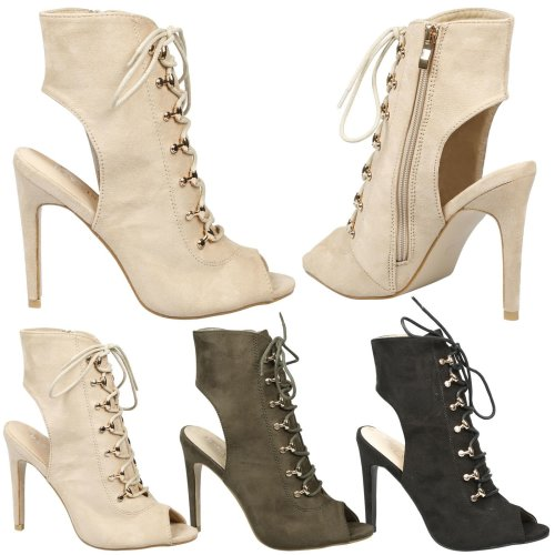 Viviana Womens High Stiletto Heel Peep Toe Lace Up Ankle Boots Ladies Shoes Size