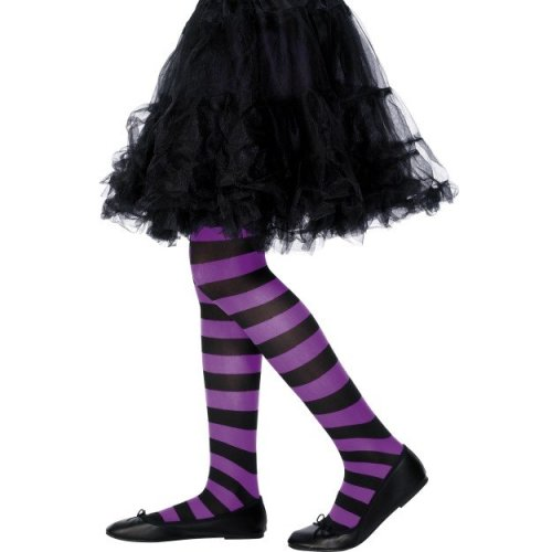 Kids Striped Tights (Purple)