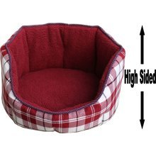 """Dog Bed Thick Red Chequered Material Fleece 18"""""""
