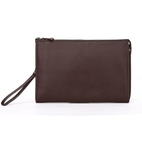 "Coffee Leather 12"" Clutch"