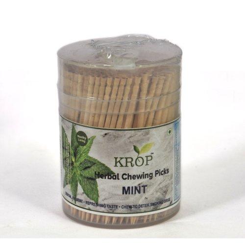 KROP Herbal Chewing Picks - 300 Sticks (Mint Flavoured Toothpicks)
