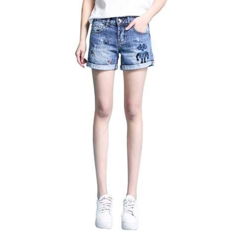High-quality Jeans Shorts Exquisite Embroidery High Waist Shorts, B