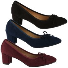 Mary Womens Low Block Heel Bow Detail Court Shoes