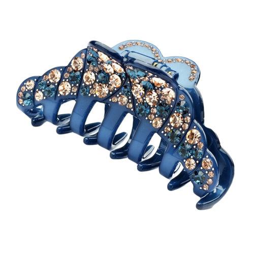 Elegant Womens Rhinestone Epoxy Enamel Hair Claw Hair Clip (Dark-blue)