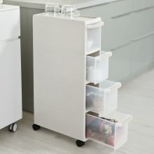 SoBuy® FRG41-HG, 4 Drawers Plastic Storage Drawer Unit on Wheels