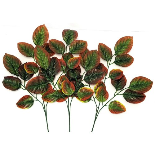 Set of 3 Artificial Large Rose Leaf Spray Green & Brown - 76cm - Spring & Summer