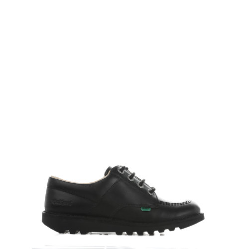 Kickers Kick Lo Y Core Youths Black Leather Shoes