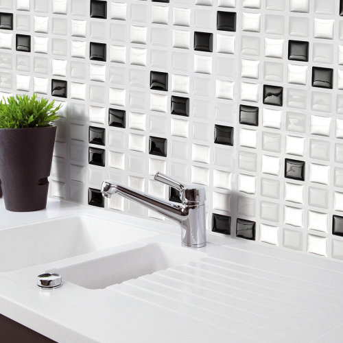 Black&White&Gray 3D Mosaic Wall Stickers Backsplash Tile Wallpaper Home Bathroom Kitchen Decor