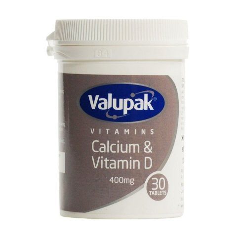 Valupak Calcium With Vitamin D 30 Tablets 400mg