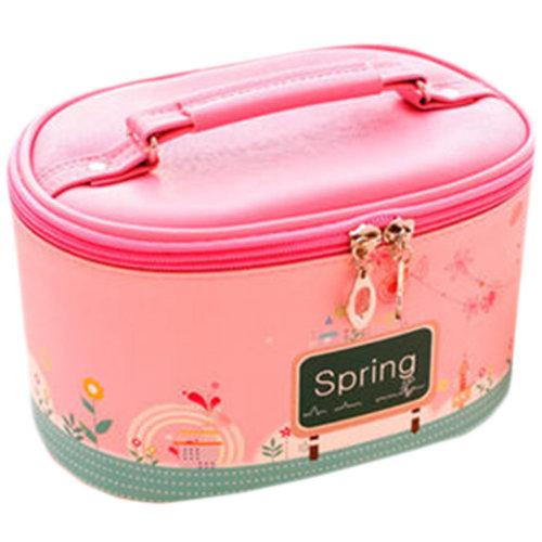Lovely Cosmetics Receive Bag Bag Hand Bag Waterproof Makeup Box(Pink Spring)